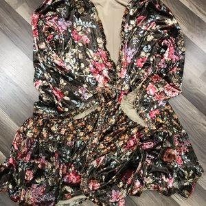 Gorgeous velvet print ruffle trim cardigan